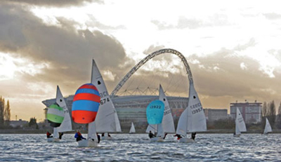 GP14 racing on the Welsh Harp