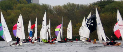 Sailboats racing at the Welsh Harp